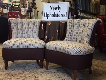 Newly Upholstered Twin Chair Set By Park Avenue Fabrics   Interior Design  And Upholstery Experts In